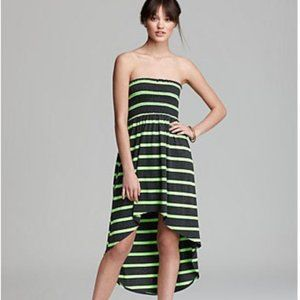 Aqua Strapless Dress - Smocked Tube High Low